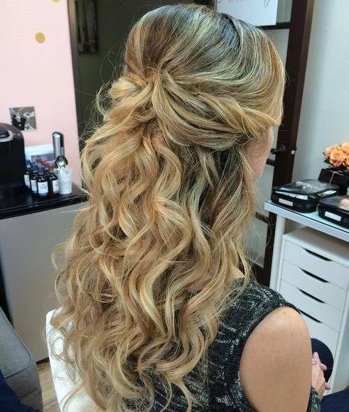 Formal Wavy Bouffant Half Updo Formal Hairstyles For Long Hair Prom Hairstyles For Long Hair Medium Hair Styles