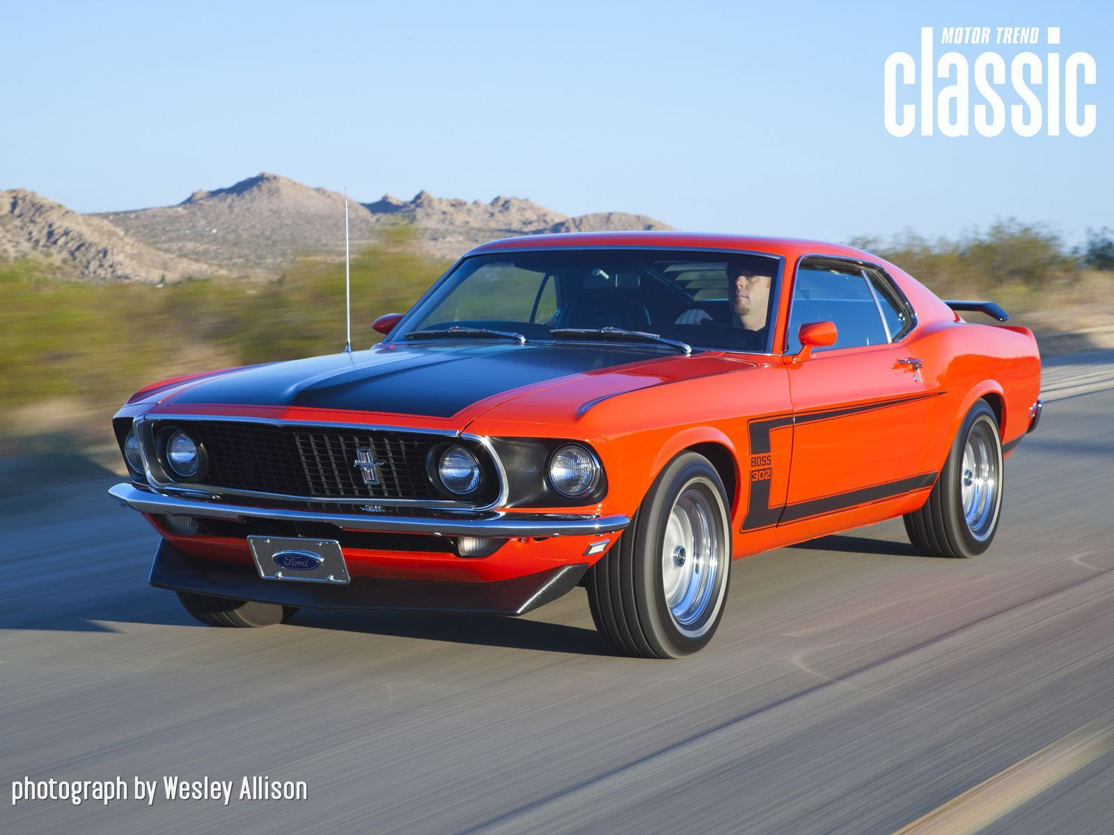 1969 ford mustang boss 302 front view in motion wallpaper 1 600