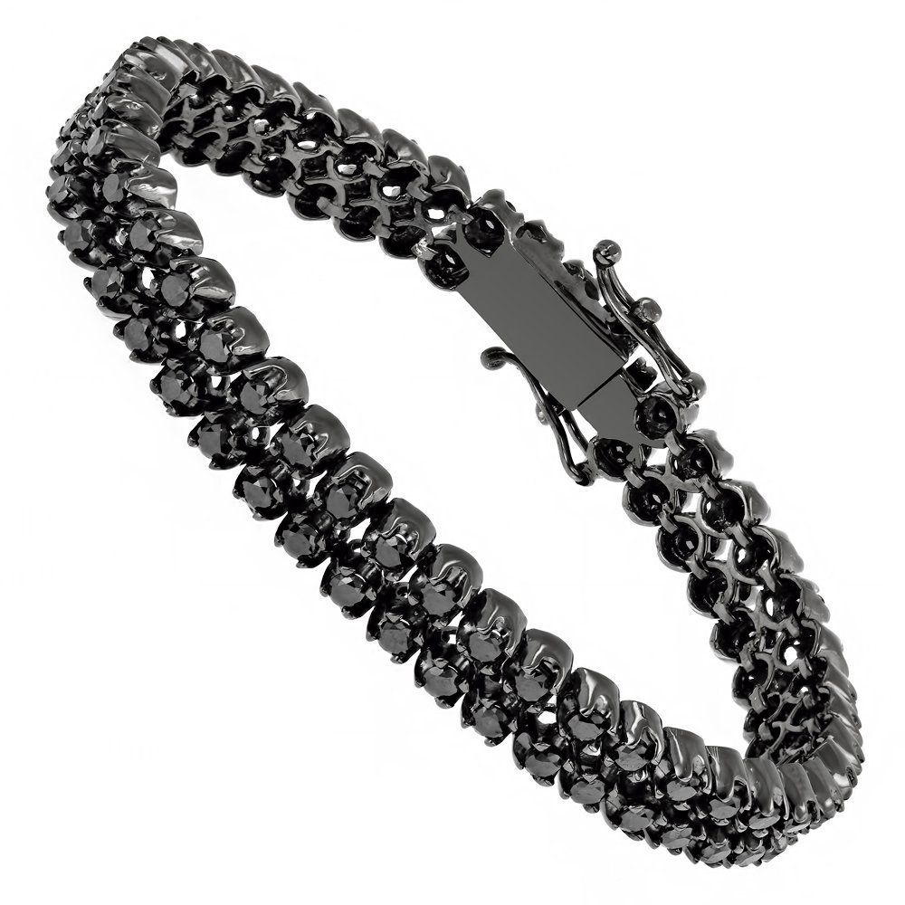 Luxurman Black Diamond Bracelets 2 Row Mens Diamond Tennis Bracelet 7ctw Black Diamond Bracelet Mens Diamond Jewelry Diamond Bracelets