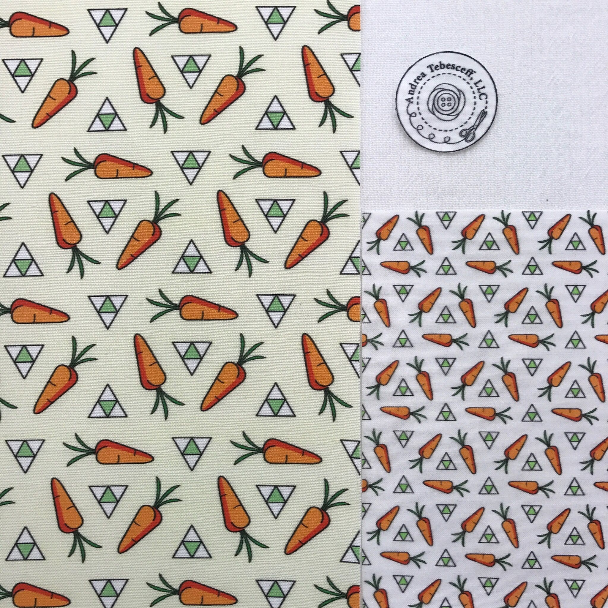 """Spinning Carrots and Triangles"" is the large design that is printed on Linen Cotton Canvas Ultra. This fabric would make an excellent Gardening Hat or Tote Bag because of its weight and texture. ""Bunny's Carrots and Triangles"" is the small design that is printed on Kona Cotton which is a lighter and softer fabric. It is also the pajama print on the Cut and Sew fabric panel, ""Bunny in Pajamas""."