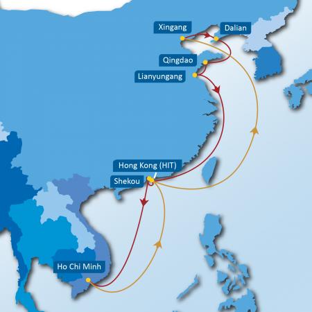 NCX SERVICE: Xingang - Dalian - Qingdao - Lianyungang - Hong Kong (HIT) - Shekou - Ho Chi Minh - Hong Kong (HIT) - Xingang