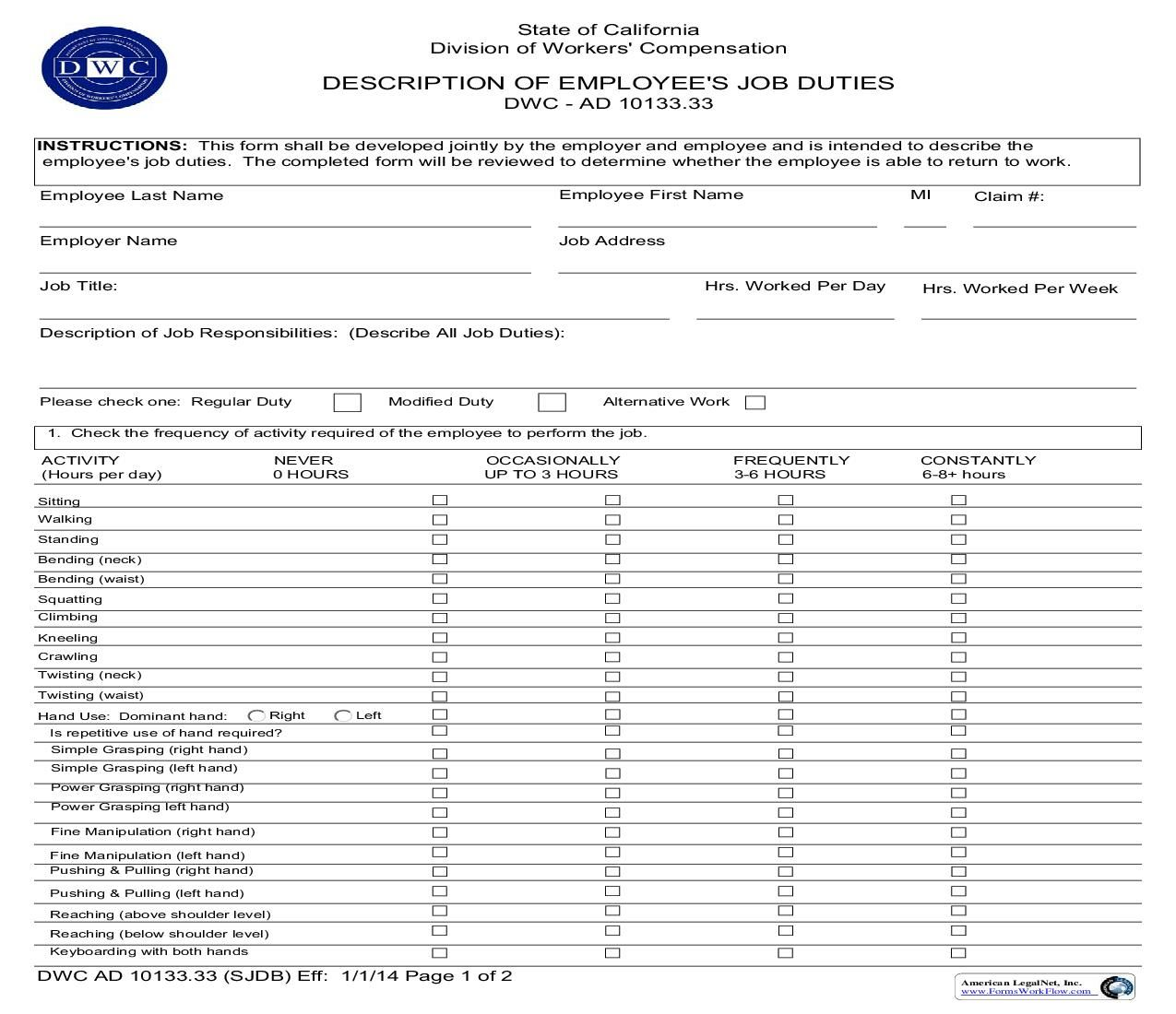 This is a California form that can be used for General