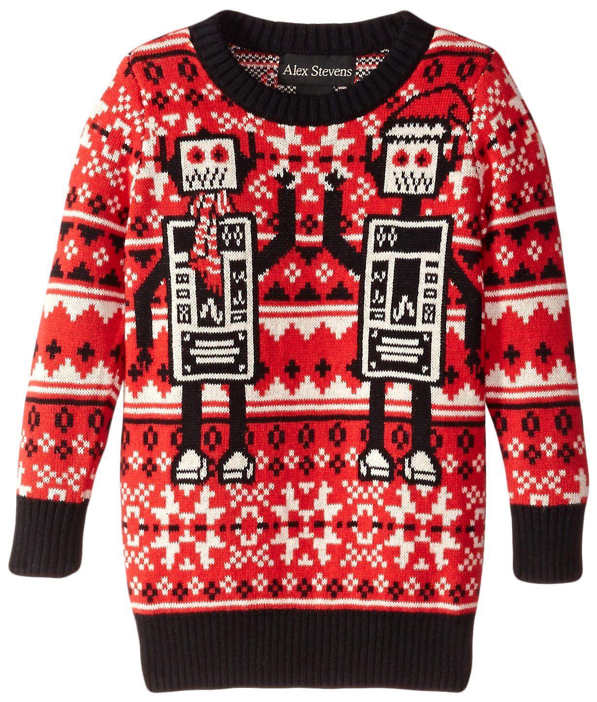 Alex Stevens Boys' Robots, Red Combo, 4. Fair Isle sweater in ...
