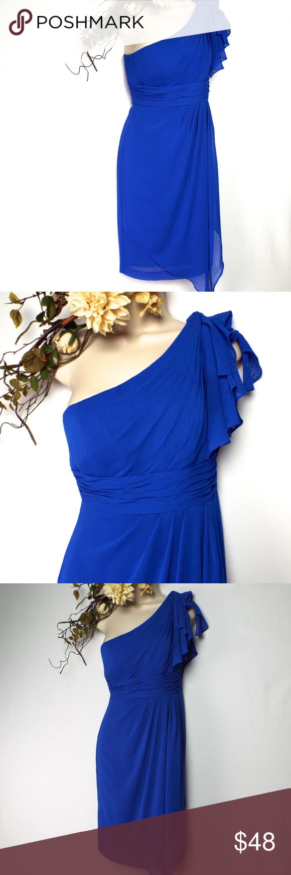 David's Bridal Assymetrical Cold Shoulder Dress EUC Laid