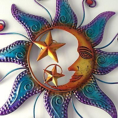 New Large Metal Wall Art Multi Colour Sun And Moon Hanging Decoration Garden Wall Hangings Home De Large Metal Wall Art Metal Tree Wall Art Metal Wall Art