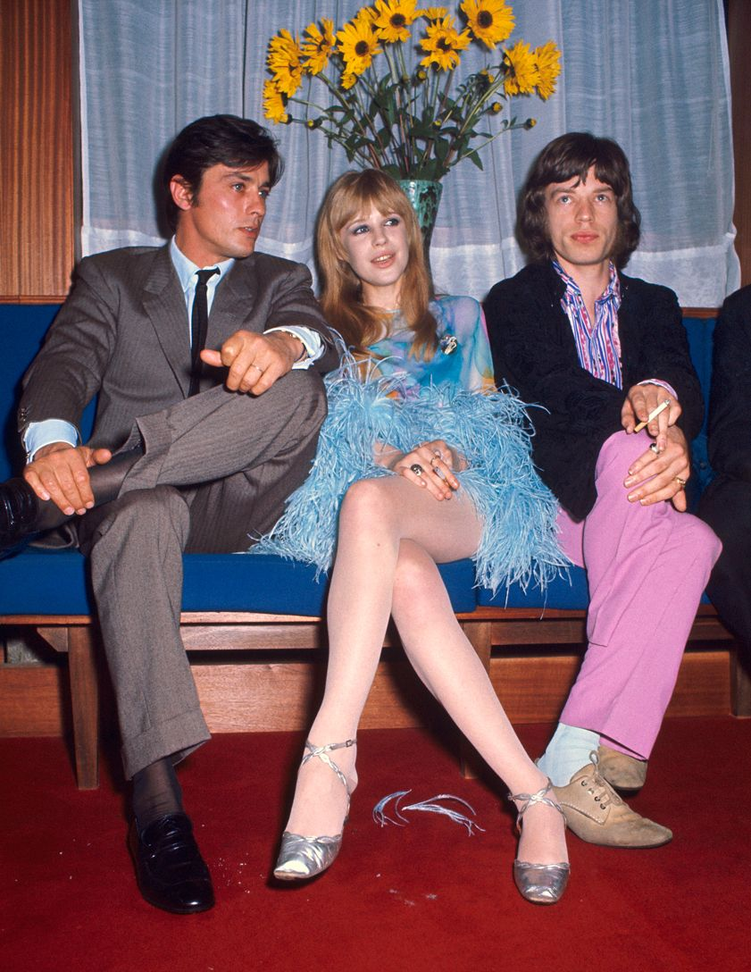 French actor Alain Delon with Marianne Faithful and Mick Jagger in 1968