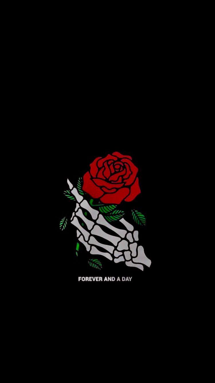 Forever And A Day Rose Skeleton Black Aesthetic Tumblr Wallpaper Black Aesthetic Wallpaper Aesthetic Roses Gothic Wallpaper