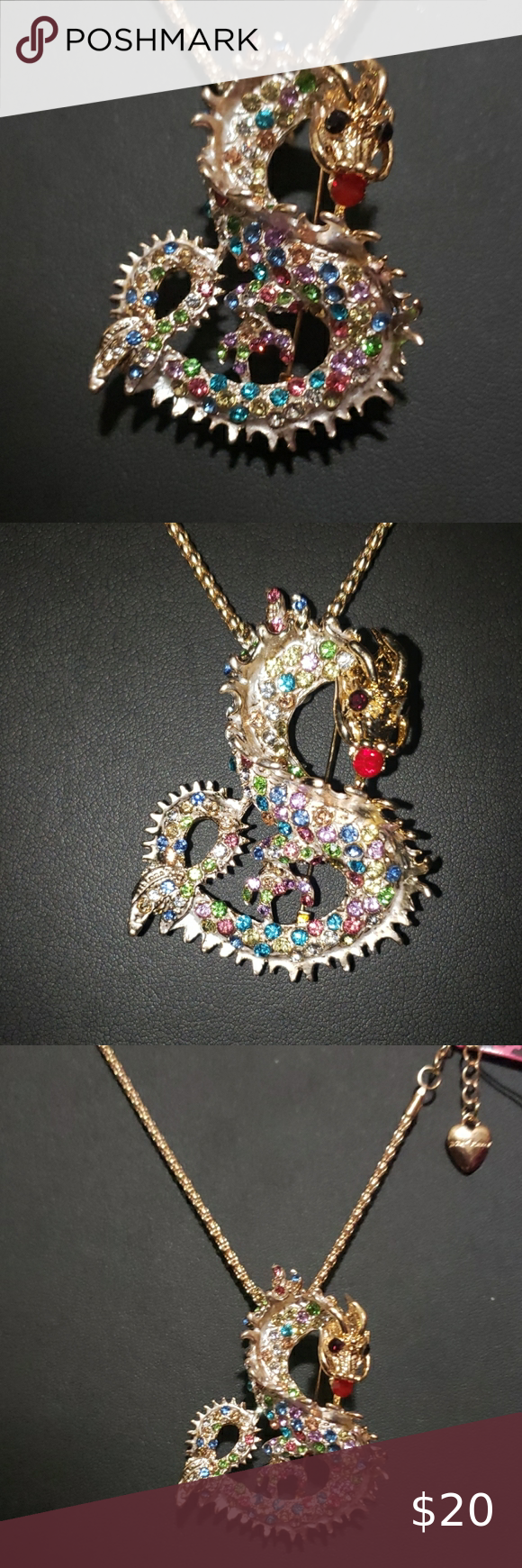 Photo of NWT Crystal Dragon Necklace by Betsey Johnson NWT Unique multicolored …