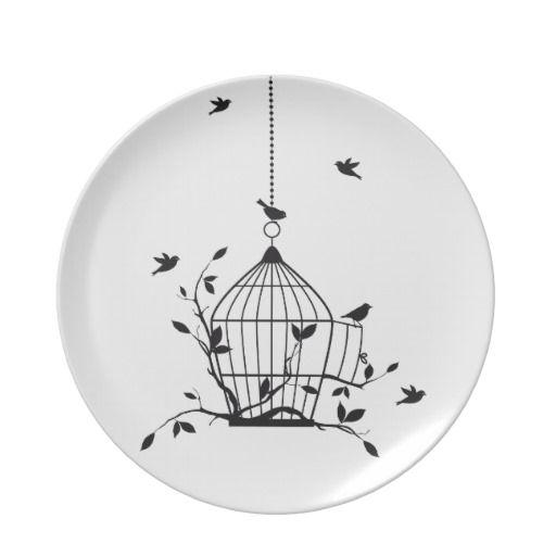 free birds with open birdcage melamine plate c ramique. Black Bedroom Furniture Sets. Home Design Ideas