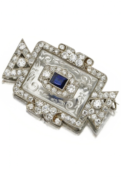 CARVED ROCK CRYSTAL, SAPPHIRE AND DIAMOND BROOCH, CARTIER, CIRCA 1920.
