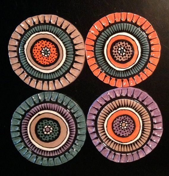4 Coasters Set of 4 by BoosArt1 on Etsy