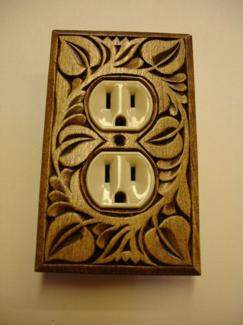Wall decor, single electric outlet cover plate, hand carved wood on ...