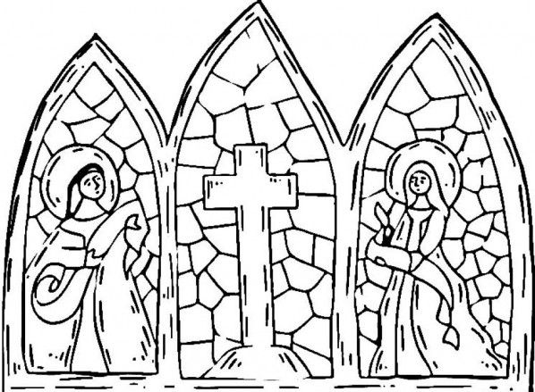 cross | Coloring Pages of Stained Glass Cross | Kidskat ...