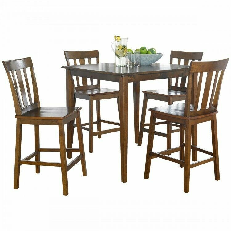 5 Piece Counter Height Dining Set Indoor Cherry Wood 4 Chairs Square Table Seats Ebay Counter Height Dining Sets Nook Dining Set Contemporary Kitchen Tables