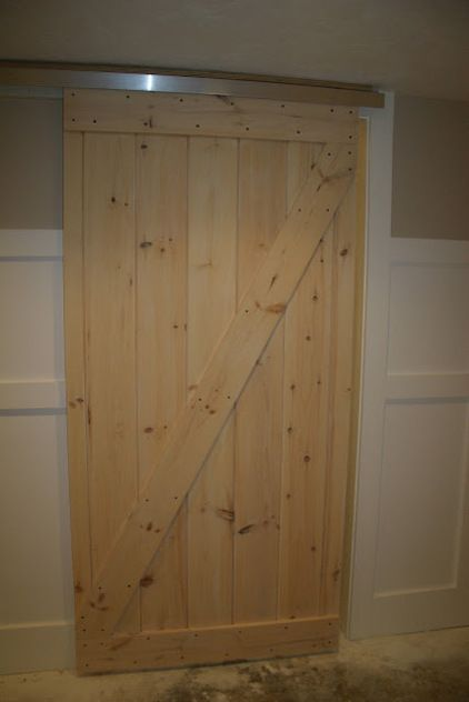 Good ideas 1. use closet door glide kit from Home Depot for $12. 2. Make door from pallets possible plywood? 3. get floor guide from Home Depot keeps ... & homemade barndoor for bunkhouse. Good ideas 1. use closet door glide ...