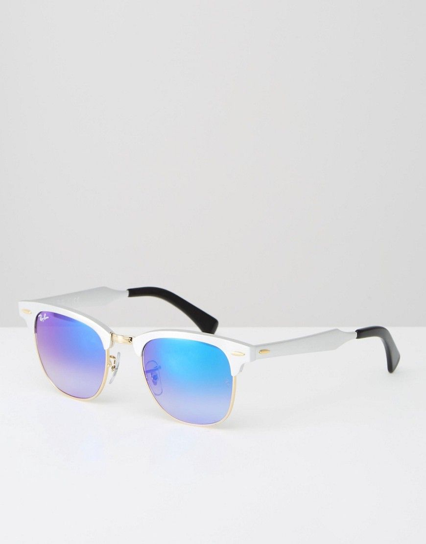 Ray-Ban Clubmaster Sunglasses with Ombre Blue Lens and Silver Frame ...