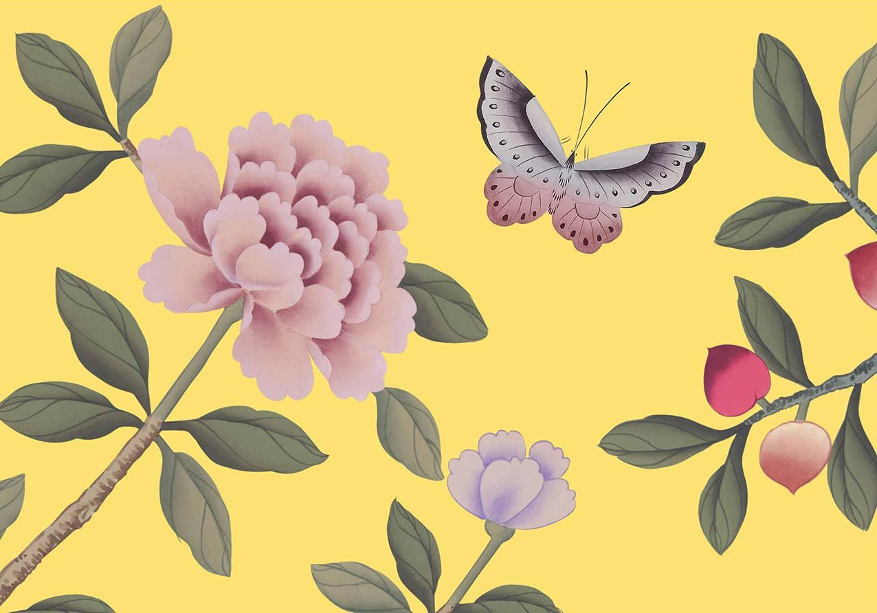 Florent-Printed Chinoiserie in Amarillo Colorway by Fromental