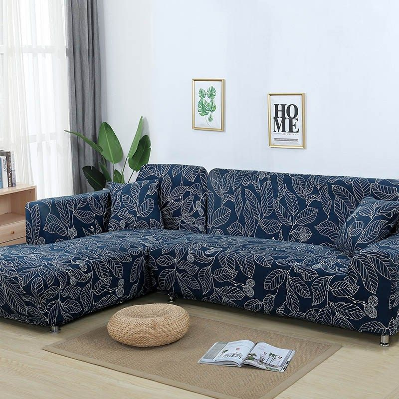 L Shaped Sofa Cover Elastic Blue Sofa Covers For Living Room