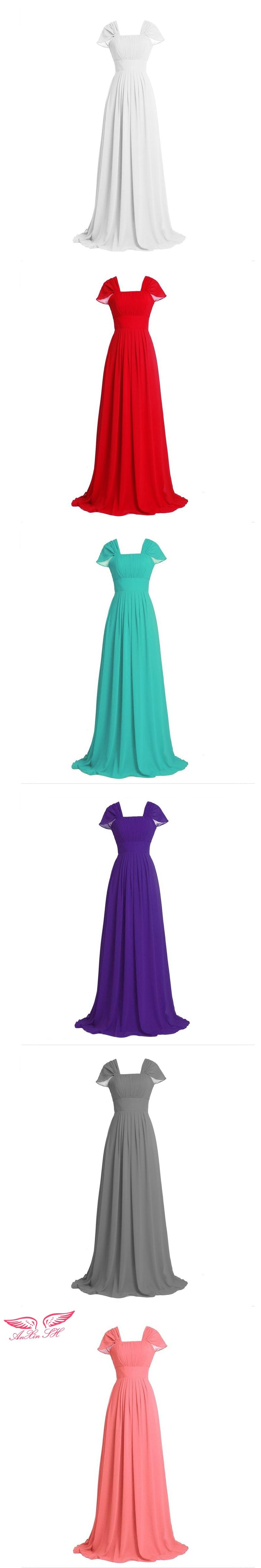 Anxin sh pink chiffon bow bridesmaid dress red bridesmaide dress