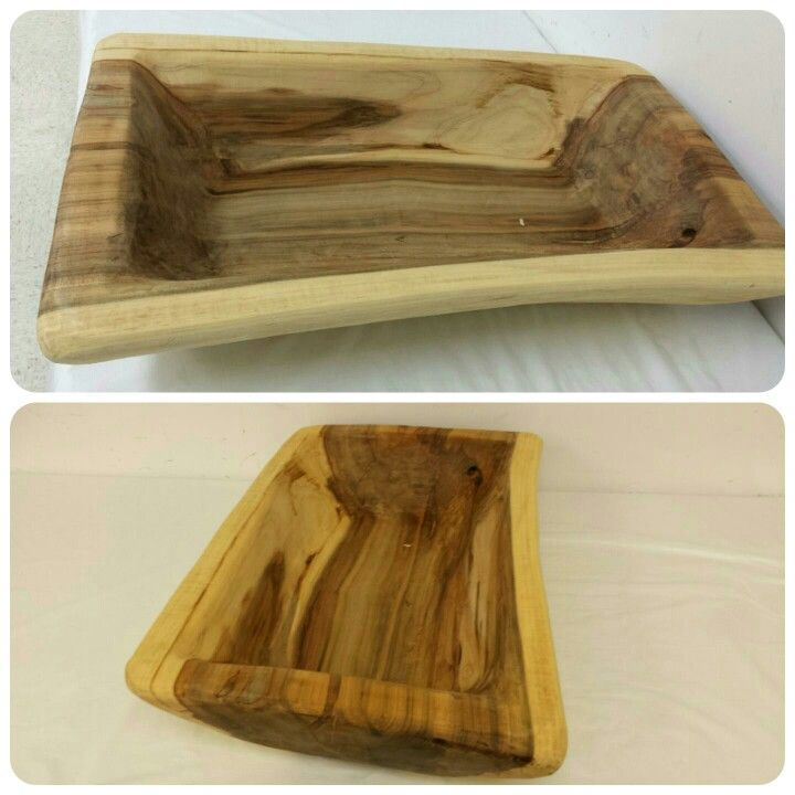 Carved wooden bowl maple wood treated with butcher block