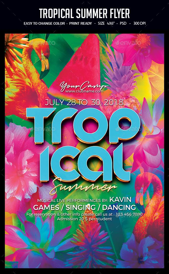 Tropical Summer Flyer Party Flyer Summer And Flyer Template