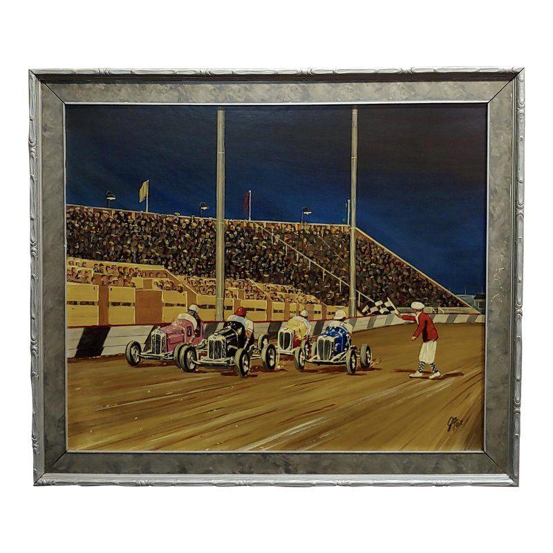 G. Fox - 1930s Car Race - Oil Painting On Board