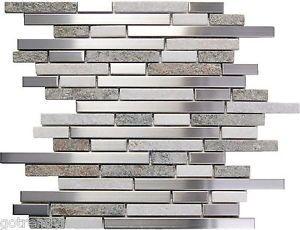 Sample Stainless Steel White Gray Stone Mosaic Tile Kitchen Backsplash Wall Spa