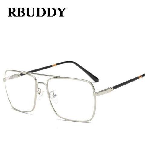 162196452b7 Square Clear Glasses Men women Fashion Glasses frame Metal big clearmodlilj