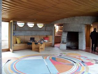 Gladys and David Wright House - one of its most famous furnishings, the brightly-colored living room rug designed by Frank Lloyd Wright 1950