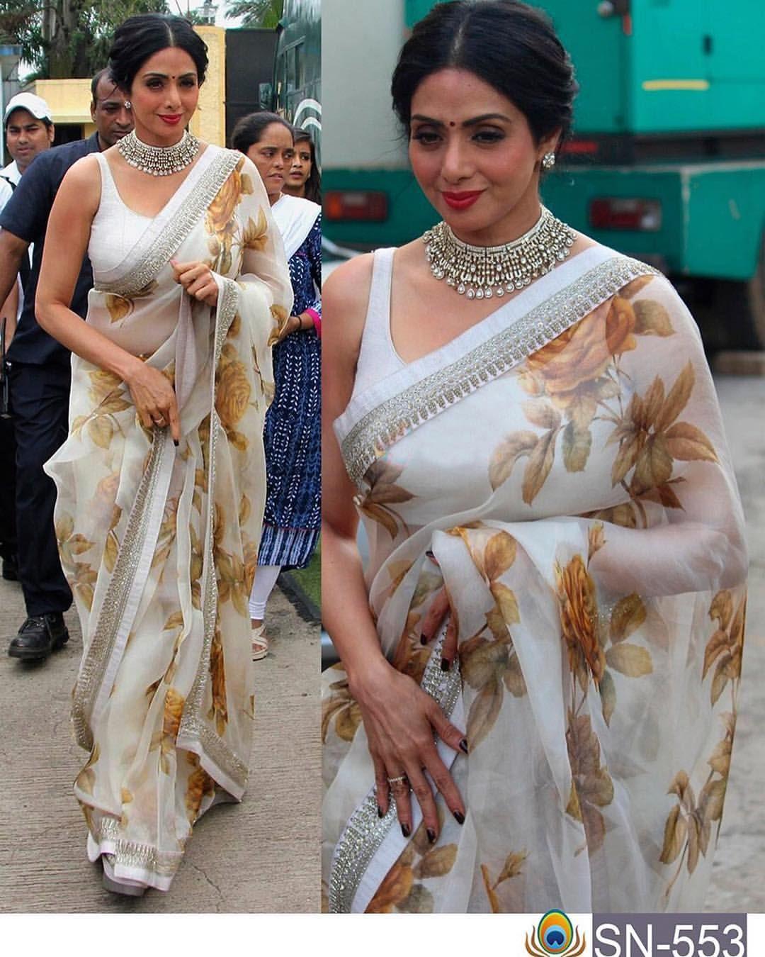 8ca866a8ad Floral saree on legend Sridevi | Saree | Saree, Modern saree ...