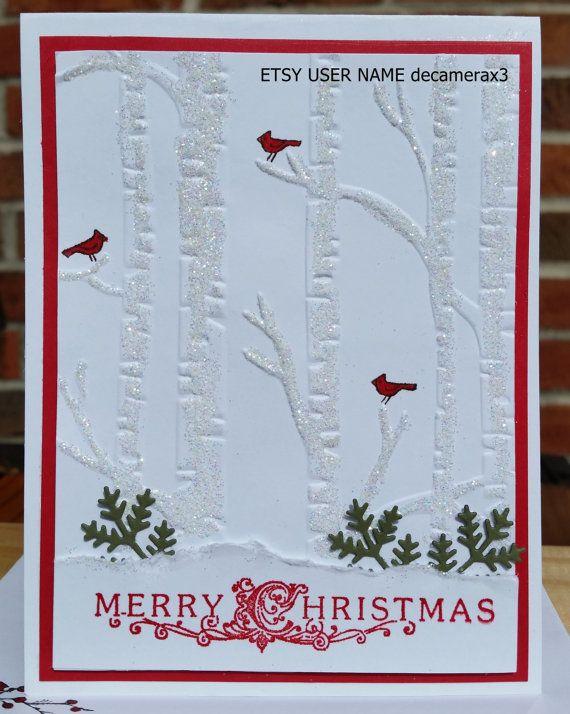 handmade christmas card kit set of 4 stampin' up woodland