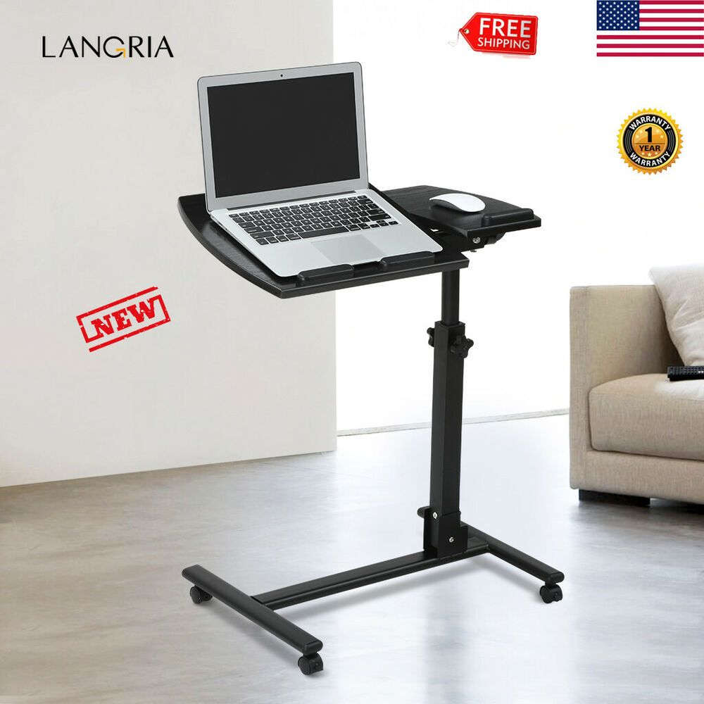 Rolling Laptop Table Height Adjustable Pc Computer Desk Bedside Reading Desk Us Affilink Desk Desksetup Mobile Desk Laptop Table Adjustable Standing Desk