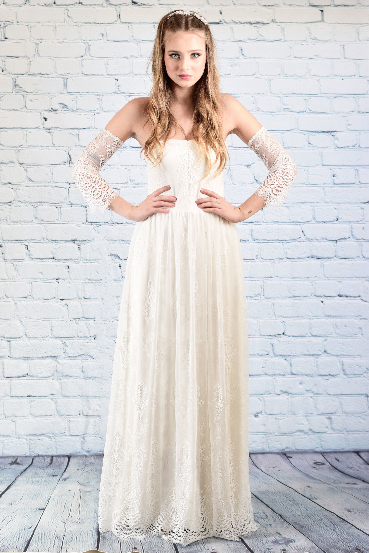 Lace wedding dress with sleeves Boho wedding dress, Simple