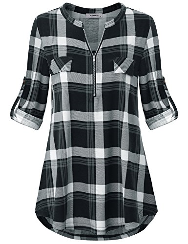 f20dd0051 Plaid Tunic Tops for Leggings for Women, Ladies Blouses 3/4 Sleeve with  Roll Up - If you're in need of a stylish plaid tunic shirt to add some  fresh to your ...