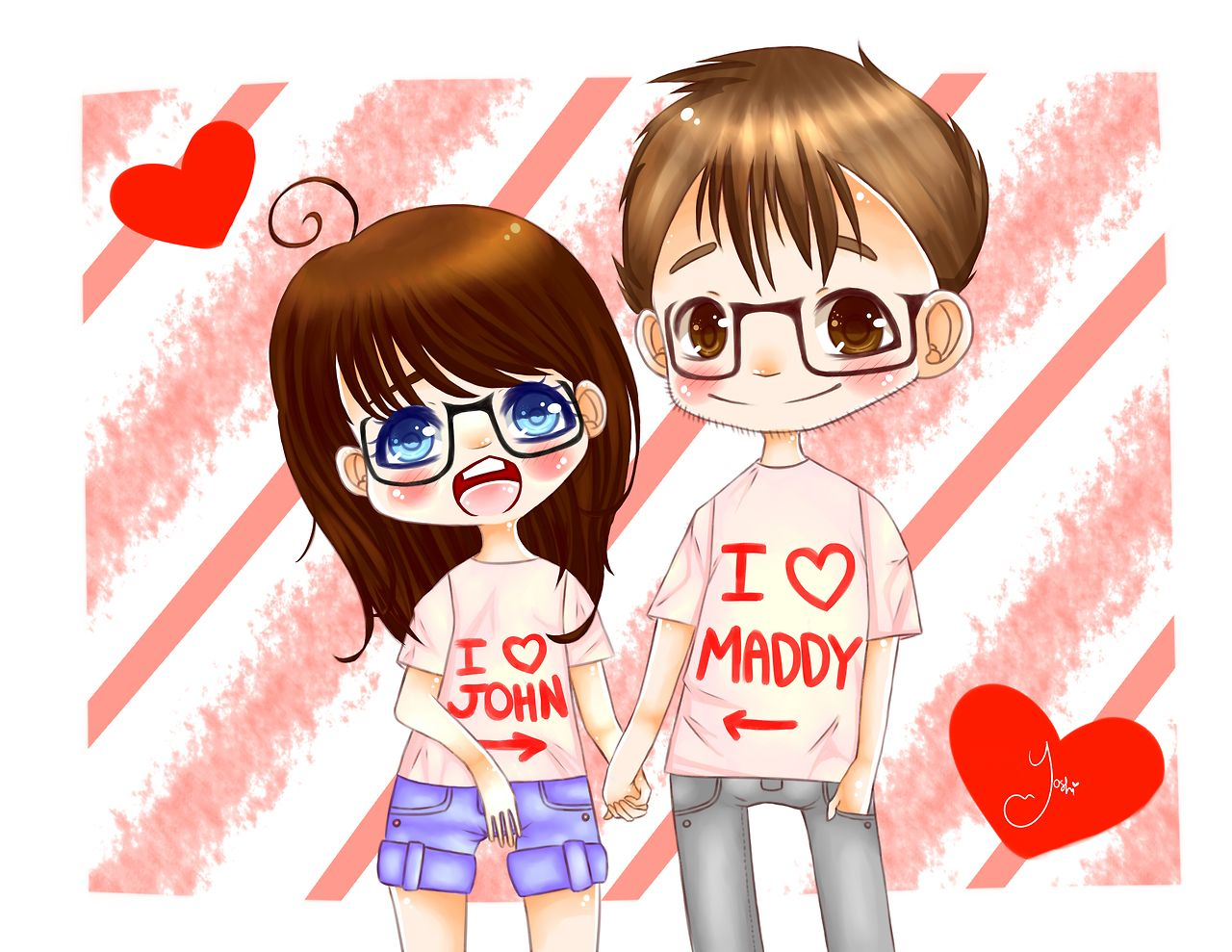 I drew me and my boyfriend John.Arent we the cutest? yoshi-xo.deviantart.com