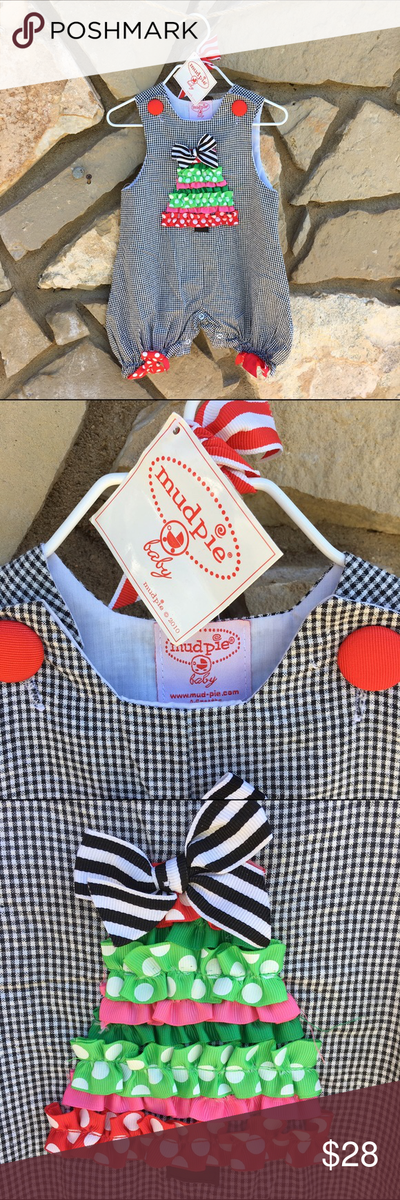 Mud Pie Christmas Outfit Size 0-6 mo Mud Pie Christmas Bubble Ruffle Christmas Tree Black Gingham  Black and White Gingham  Red Button Shoulder Closure Snap Bottom Multi Color Ribbon Christmas Tree Red White Polka Bows  Ruffle Bottom Back Side with Red Bow Size 0-6 Months Mud Pie One Pieces