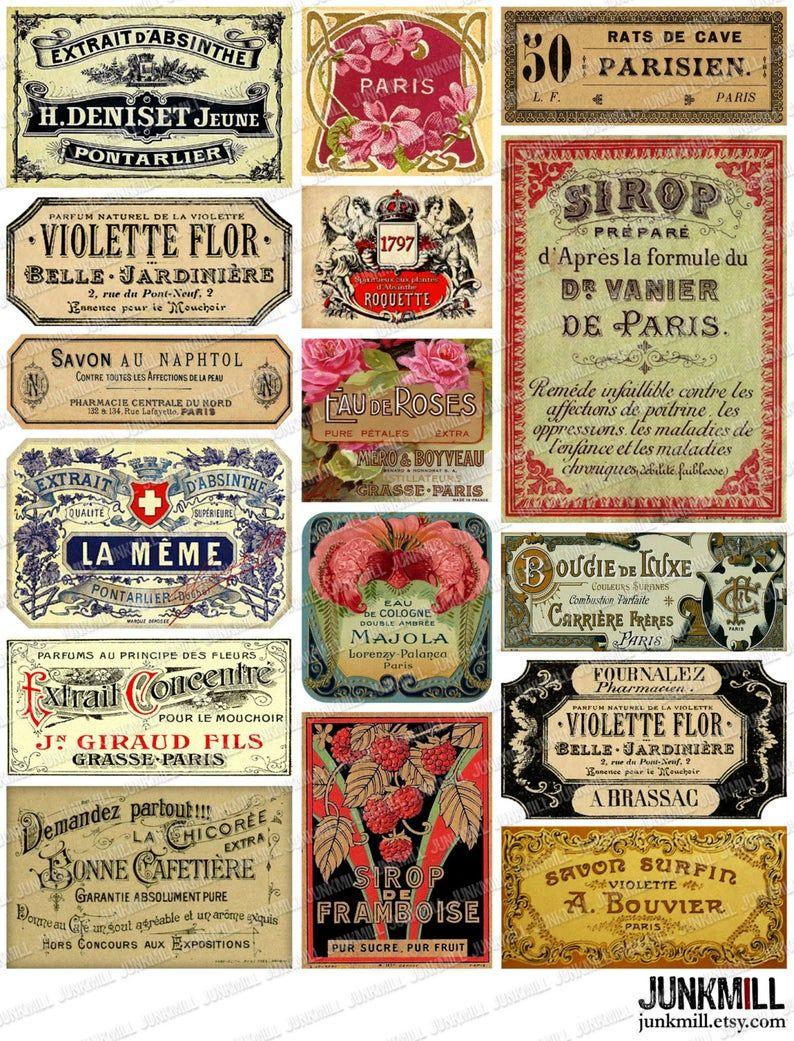 Parisian Labels Digital Printable Collage Sheet Vintage Etsy In 2020 Printable Collage Sheet Perfume Label Vintage Labels Printables Free