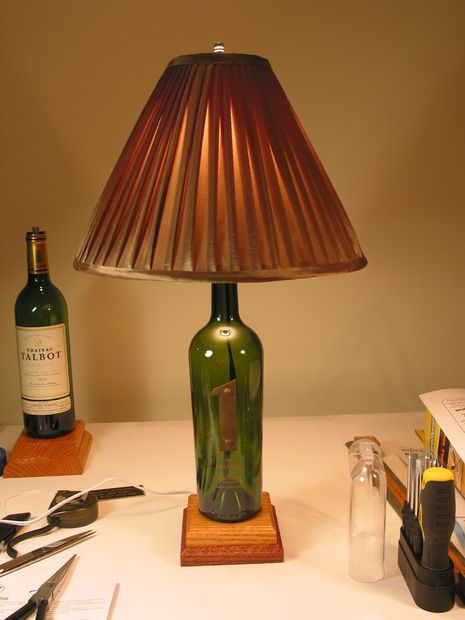 4 easy steps to creating a unique wine bottle lamp for Lamps made out of wine bottles
