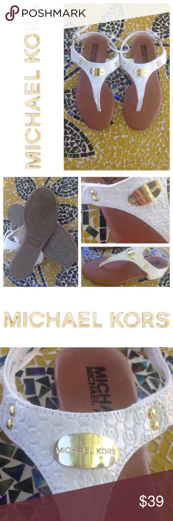 """NEW!  MICHAEL Michael Kors girl's thong sandals Brand new, super cute, ultra-functional MICHAEL by Michael Kors white thong sandals are super comfy & just in time for the warmer weather!  Pair these beauties will all her outfits & she's ready to go!  Featuring a signature logo plate & gold hardware, these pretty sandals retail at $59 but available right now for a great price!  Size is 1 in girls.  No trades or """"lowest"""" please. MICHAEL Michael Kors Shoes Sandals & Flip Flops"""