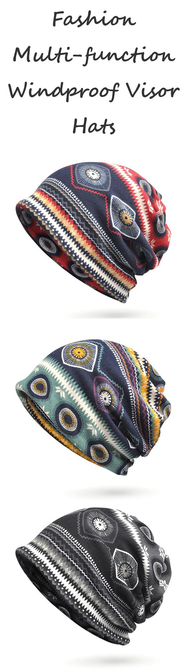 Women Print Beanie Hats Comfortable Multi-function Scarf Casual ...