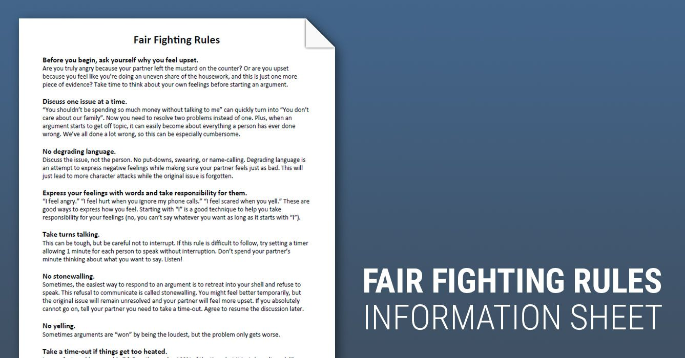 Fair Fighting Rules Worksheet Therapist Aid Fighting Fair Fair Fighting Rules Therapy Worksheets