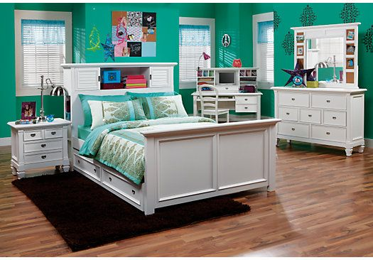 Shop for affordable White Full Bedroom Sets for Girls at Rooms To Go Kids  Furniture  Find a variety of styles and options for sale. Shop for a Belmar White 6 Pc Full Bookcase Bedroom at Rooms To Go