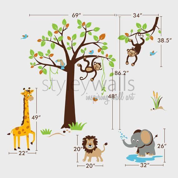 Safari Jungle Animals Wall Decal, Safari Tree Set Wall Decal Sticker, Nursery Kids Playroom Decor, M