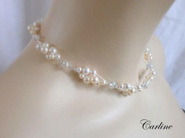 Mme Colliers de Boucles Bagues Bijoux de Mariage en Cristal en Faux Diamant