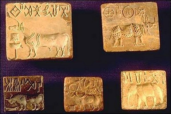 "Fascinating Facts About Indus Valley Civilization - People of Indus Valley Civilization traded goods and they were first to use wheel transport. The most interesting thing they produced were the ""seals"" which they used as the identification markers on their goods and clay tablets. The seals contain their written language and many interesting designs of creatures, animals and people (mainly gods?)."