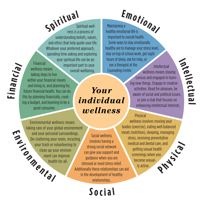 The Wellness Wheel - outlining the seven dimensions of wellness ...