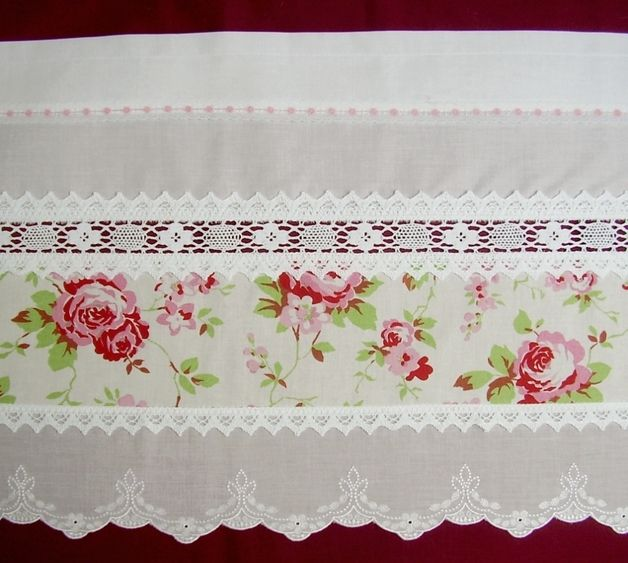 Curtains \u2013 2 x Rosen Bistro-Gardinen Landhausstil shabby chic \u2013 a