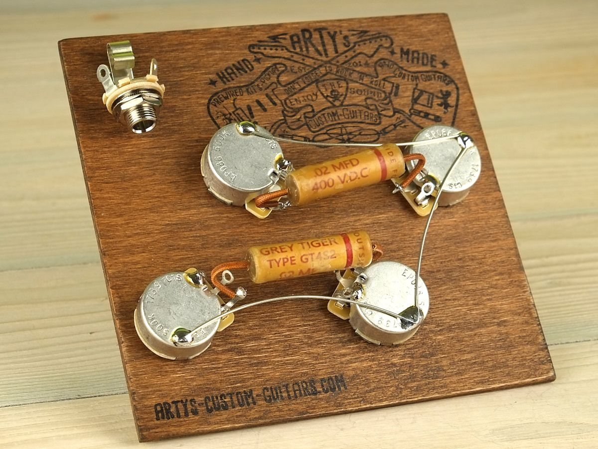 Artys Custom Guitars Vintage Pre Wired Prewired Kit Grey Tiger Les Paul Wiring Harness Assembly Set