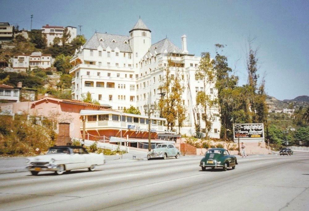Color Shot Of The Chateau Marmont And The Players On The Sunset