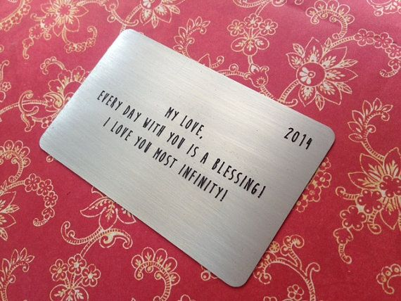 Nickel wallet card insert anniversary gift for him wedding